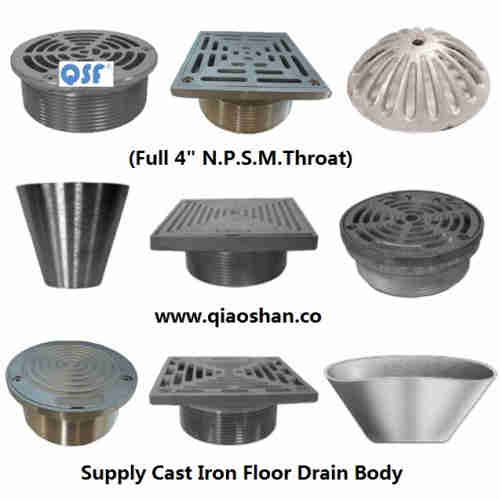 Nickel Bronze, Bronze, Stainless Steel Strainer and Cleanout Top for Cast Iron Floor Drains Body