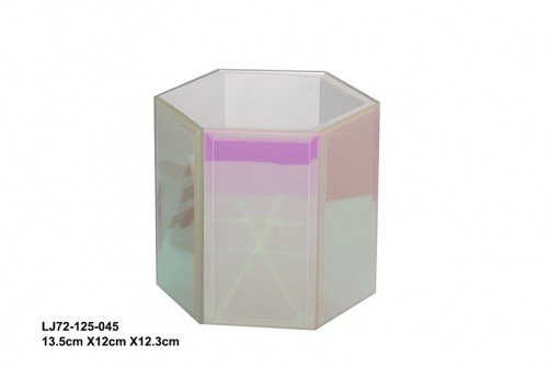 Colorful hexagonal glass jewelry box