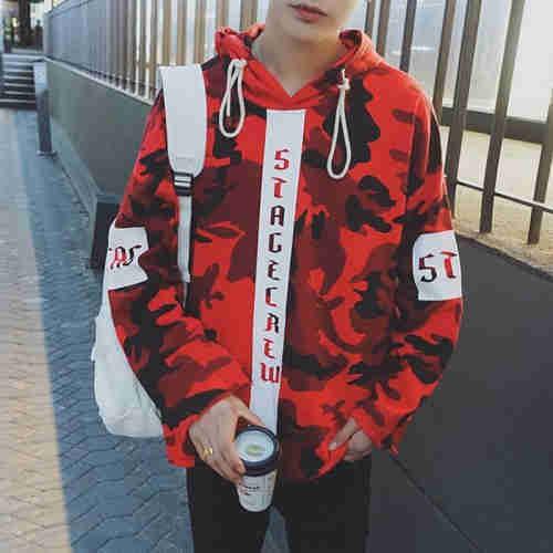 Custom Camo Printed Mens Pullover Streetwear Hoodies