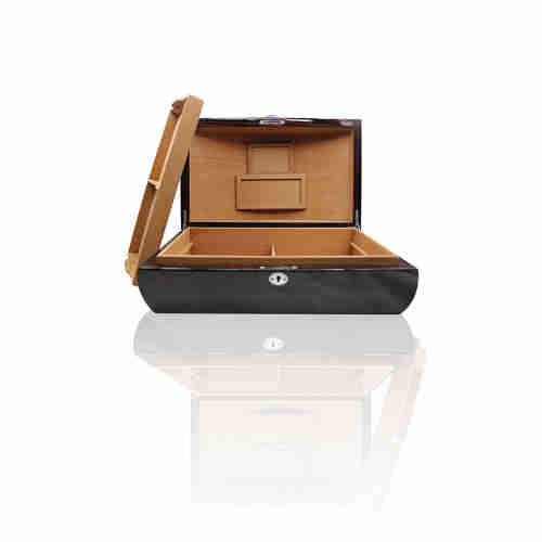 Arc Design High Gloss Finished Wood Italy Humidor Zebra With Lock  Cigar Boxes
