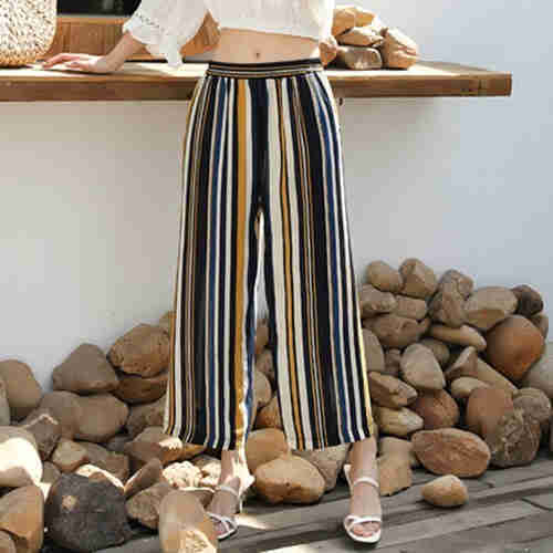 Stylish wide leg trousers for summer girls, chiffon nine minute trousers, beach pants, hanging beach