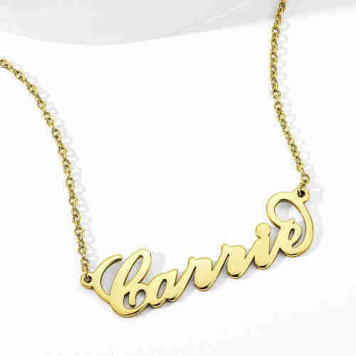 """Soufeel Gold """"Carrie"""" Style Name Necklace-Mother's Day Gift"""