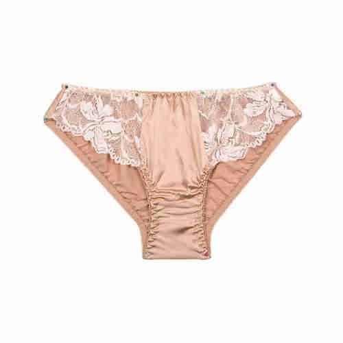 Summer lady silk sexy breathable short underwear silk low waist front piece lace briefs silkworm sil