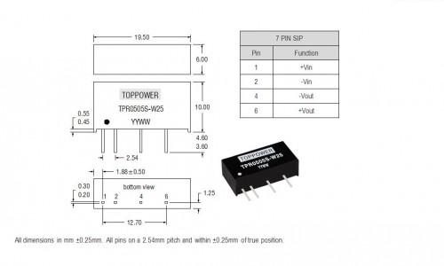 1W 3KVDC Isolated Single Output DC/DC Converters