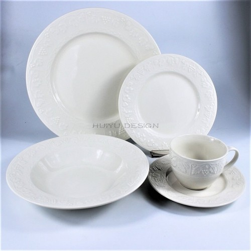 Porcelain Embossed 20pcs Dinner Set