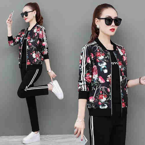 Long-sleeved casual sport suit for women fashion stand-up cardigan embroidered three-piece sport sui