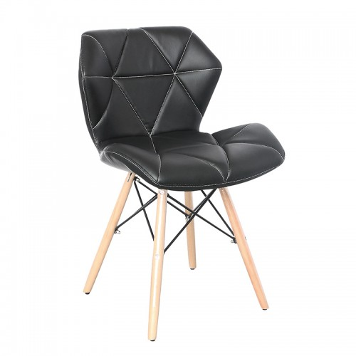 Strong PVC leather 4 metal eiffel style legs hotel chairs for dining room