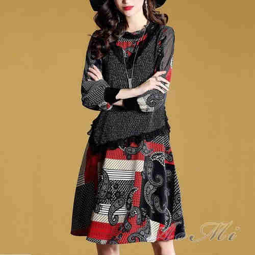 Two Pieces Of Mid-Length Flower Skirt Dress