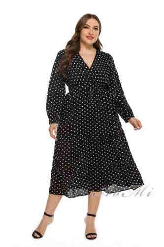 Plus Size Dresses Black Polka Dot Lantern Sleeve Large Size Dresses Summer Oversize Dress