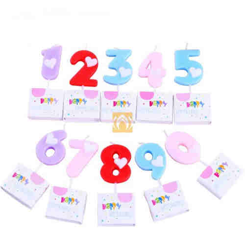 Wholesale Unique Love Heart Printed Birthday Numbers Candles 0-9 For Baby Children Adults