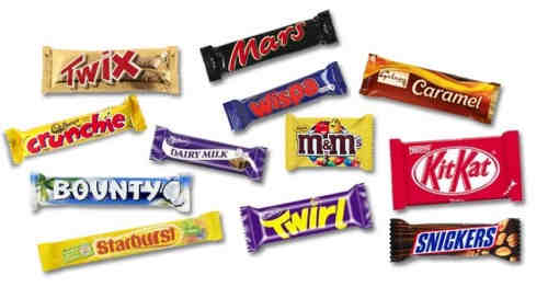 Twix,Bounty,Snickers,Mars,Kitkat and other confectioneries