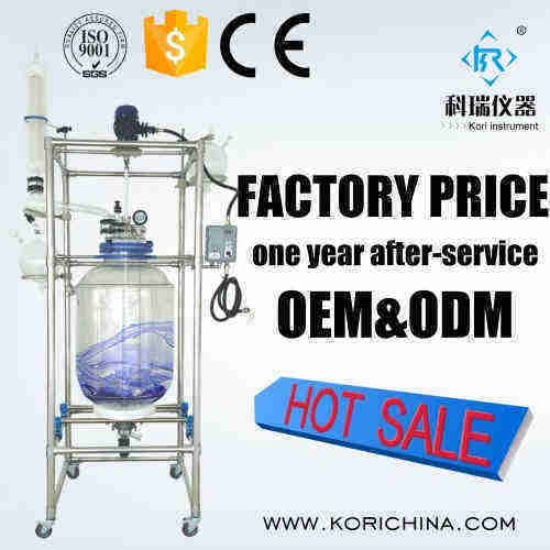 CE approved High Borosilciate Double wall Jacketed glass reactor with distributor price