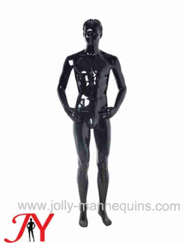 Jolly mannequins-Plastic male mannequin realistic head black glossy-M2