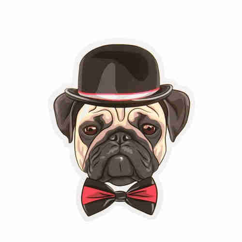 Custom Stickers No Minimum | Cartoon Pug Custom Stickers | GS-JJ.com ™