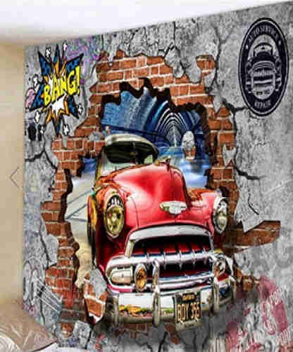 Fabric Wall Tapestry/Throw 3D Car 90 x 70 Inches