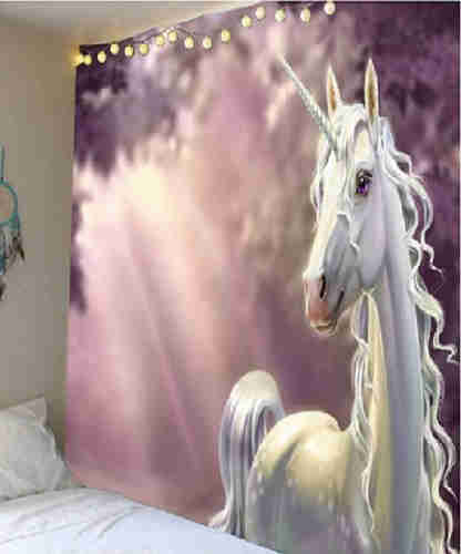 Fabric Wall Tapestry/Throw White Unicorn 91 x 71 Inches