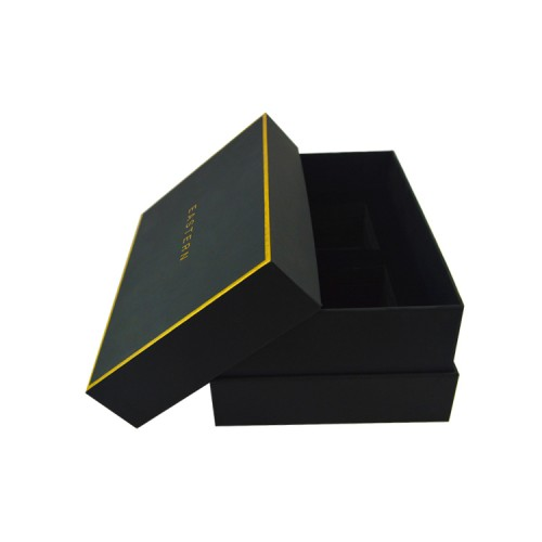 Custom Lid And Base Shoulder Rigid Cardboard Paper Packaging Gift Box For Man Wallet With Gold Foile